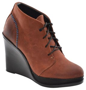 Rag & Bone Ankle Lace-up Wedge Rust Brown Boots