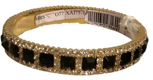 Valentino Rhinestone Jewel Crystal Embellished Metal Bangle Bracelet Gold Black