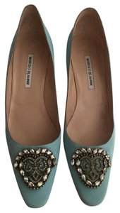 Manolo Blahnik Size 11 Okkato Embellished blue Pumps