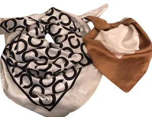 Coach Two Silk Scarf 1st Signature Logo Large 2nd Block Tan Ivory