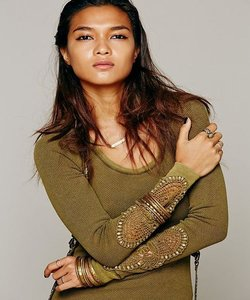 Free People T Shirt Olive Green