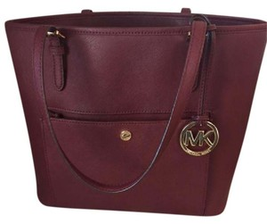 Michael Kors Saffiano Leather Travel Tote in Maroon