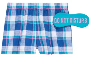 jenni by jennifer moore NEW Blue Plaid Boxer Pajama Shorts & Eye Mask Set