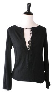 Theory Silk Lace Up Deep V Top Black