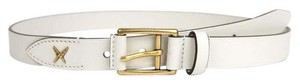 Gucci White Leather Belt Gold Buckle Feather Detail 85/34 375182 9022