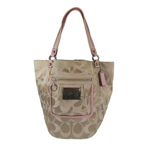 Coach Rare Signature Jacquard Patent Leather Tote in Khaki & Pink