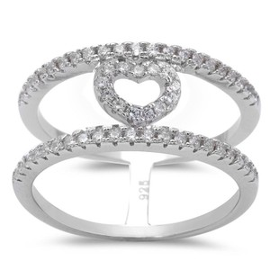 9.2.5 Unique white topaz heart infinity wide band ring size 6