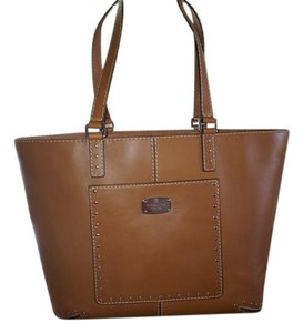 Michael Kors Coffee Leather Suede Astor Tote in Luggage