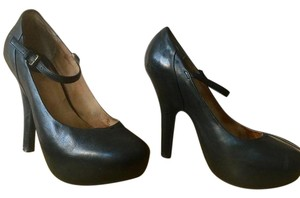 Frye Pin-up Leather Mary Jane Retro Black Pumps