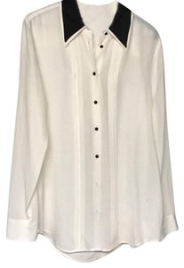 Equipment Button Down Shirt white with black accents