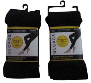 George Two New Women's Fleece Footless Tights by George Size M/L Black