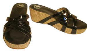 Other Patent Cork Wedge Black Sandals