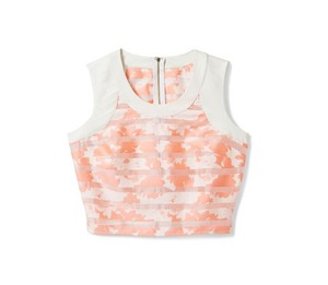 bebe Crop Sheer Striped Floral Date Night Top Pink & White