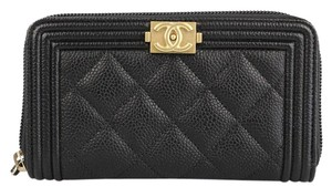 Chanel Boy Black Caviar Zip Wallet