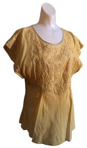 Anthropologie Embroidered Cotton Top Yellow