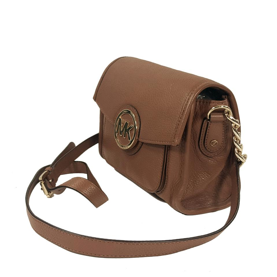 f4056a3ffa543f Michael Kors Crossbody Luggage Brown Leather Messenger Bag - Tradesy