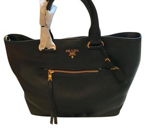 PRADA leather large shopping tote and crossbody Tote in black and gold trim