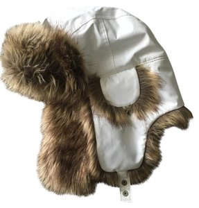 Lands' End Lands End White Bomber Hat with Brown Faux Fur