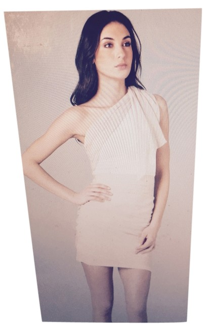 Item - Beige and Cream (Neutrals) One Shoulder Drape Above Knee Night Out Dress Size 4 (S)