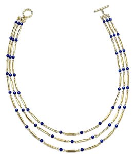 Ralph Lauren 2 Piece SET Gold-Tone Blue Bead Tube Chain Three-Row Necklace and Bracelet