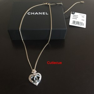 Chanel Chanel Crystal Heart CC Logo Necklace