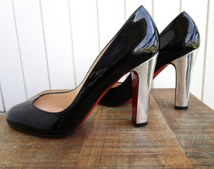 Christian Louboutin Silver Patent Leather Black Pumps