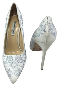 Benjamin Adams Jewel Pointed Toe Wedding Crystal White Pumps
