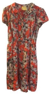 Anthropologie short dress Orange Pockets Floral Peter Pan Collar on Tradesy