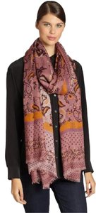 Gucci Everil Modal Silk Paisley Print Long Scarf Shawl Wrap Tea Rose Brown