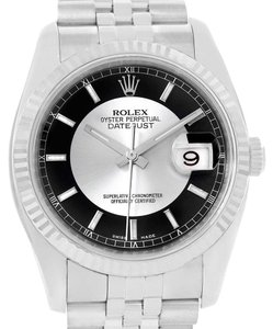 Rolex Rolex Datejust Steel 18K White Gold Tuxedo Dial Watch 116234