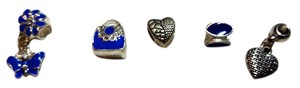 Other New 5 pc. Blue Silver European Charms Purse Butterfly J3098