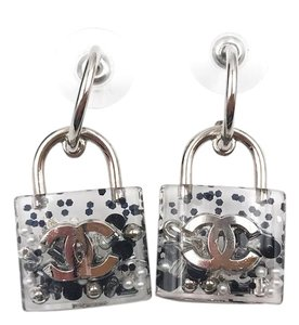 Chanel Brand New Chanel Clear Lock Black and Silver Piercing Earrings