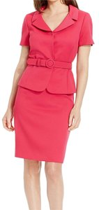 Tahari Tahari ASL New Pink Textured Notch Collar Belted Skirt Suit 18