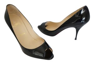 Christian Louboutin Black Patent Leather Louboutin Peep Toe Size 10 Pumps