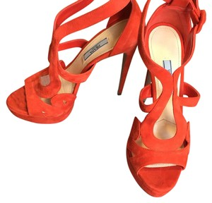 Prada Orange Platforms