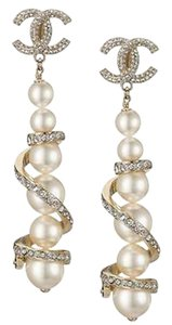 Chanel Chanel 2016 Gold CC Silver Crystal Spiral Pearl Long Clip on Earrings