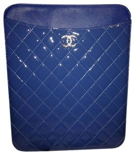Chanel Blue Quilted Patent Leather CC Logo iPad Tablet Case Holder Cover