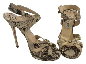 Jimmy Choo Brown/beige/gray snake skin Pumps