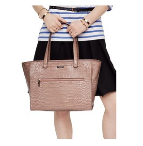 Kate Spade Leather Crocembossed Black Croc Tote in rosy beige
