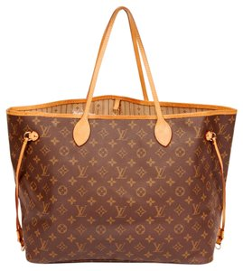 Louis Vuitton Neverfull Gm Leather Canvas Tote in Brown