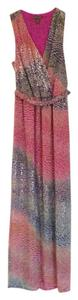 multi colored--pink, blue, chartreuse, silver foil, Beige Maxi Dress by Charlie jade