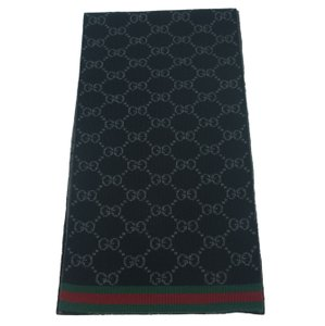 Gucci GUCCI 325806 Unisex Reversible Guccissima Black Wool Scarf Muffler