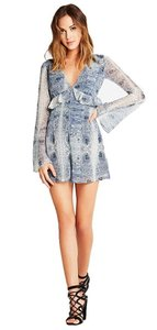 BCBGeneration Blue Paisley Bell Sleeve Dress
