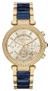 Michael Kors NWT Parker Multi-Function Champagne Dial Gold/ BLUE Acetate Watch