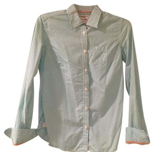 American Eagle Outfitters Button Down Shirt white and teal
