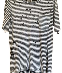 Free People T Shirt Black and White stripped