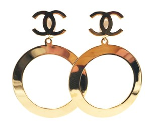 Chanel Chanel Gold Plated CC Hoop Large Clip Earrings As seen on GiGi Hadid