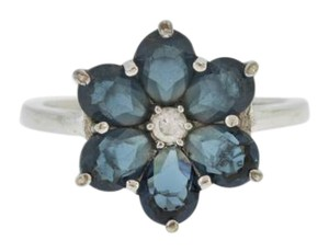 Other Antique Blue Topaz Flower Ring in Sterling Silver