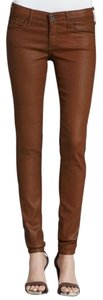 AG Adriano Goldschmied Coated Leather Faux Leather Skinny Jeans-Coated