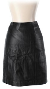 Michael Hoban Leather High Waist Vintage Mini Skirt Black